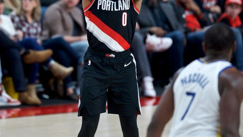 <p>               Portland Trail Blazers guard Damian Lillard shoots a 3-point basket against the Golden State Warriors during the second half of an NBA basketball game in Portland, Ore., Monday, Jan. 20, 2020. (AP Photo/Craig Mitchelldyer)             </p>