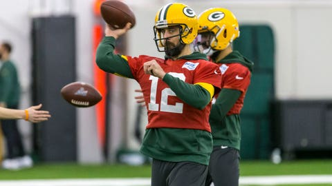 <p>               Green Bay Packers quarterback Aaron Rodgers throws the ball during the Packers NFL football practice Friday Jan. 17, 2020, in Green Bay, Wis. The Packers will play the San Francisco 49ers in the NFC Championship game on Sunday. (AP Photo/Mike Roemer)             </p>