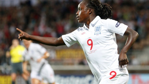 <p>               FILE - In this Friday, Aug. 28, 2009 file photo, England's Eniola Aluko celebrates after scoring during their 1st round Women's Euro 2009 soccer match against Russia in Helsinki, Finland. Former England striker Eni Aluko has retired from professional soccer to end a career in which she gained notoriety for being a prolific scorer for multiple teams and accusing one of her international managers of racism. (AP Photo/Matthias Schrader, file)             </p>