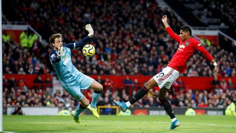 <p>               Manchester United's Marcus Rashford scores during the English Premier League soccer match between Manchester United and Norwich City at Old Trafford, Manchester, England, Saturday Jan. 11, 2020. (Martin Rickett/PA via AP)             </p>