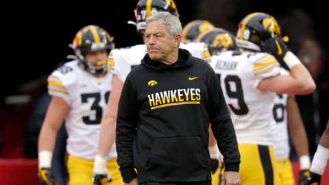 <p>               FILE-  In this Nov. 29, 2019, file photo, Iowa head coach Kirk Ferentz follows warmups before an NCAA college football game against Nebraska in Lincoln, Neb. (AP Photo/Nati Harnik, File)             </p>