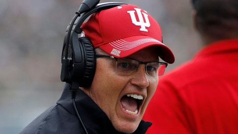 <p>               FILE- In this Sept. 28, 2019, file photo, Indiana coach Tom Allen reacts during the first half of an NCAA college football game against Michigan State in East Lansing, Mich. Tennessee and Indiana are both in a bowl game for the first time in three years. It's progress for respective head coaches Jeremy Pruitt and Tom Allen.  (AP Photo/Al Goldis, File)             </p>
