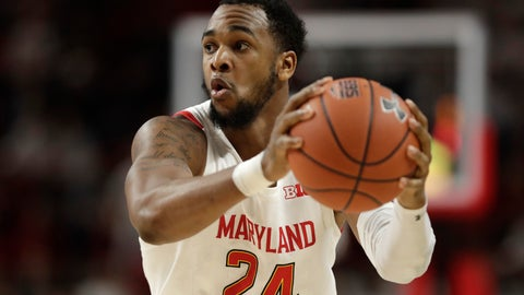 <p>               Maryland forward Donta Scott looks for an open teammate against Ohio State during the second half of an NCAA college basketball game, Tuesday, Jan. 7, 2020, in College Park, Md. Maryland won 67-55. (AP Photo/Julio Cortez)             </p>