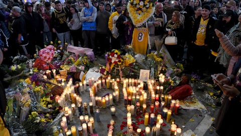 <p>               People gather at a memorial near Staples Center after the death of Laker legend Kobe Bryant Sunday, Jan. 26, 2020, in Los Angeles. (AP Photo/Michael Owen Baker)             </p>