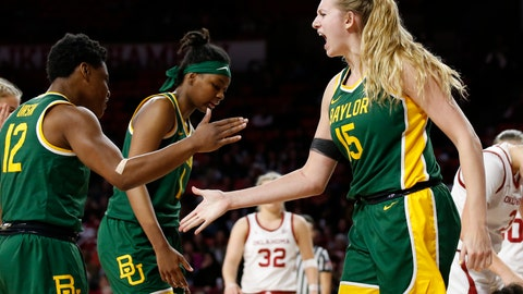 <p>               Baylor forward Lauren Cox (15) celebrates with teammate Moon Ursin in the second half of an NCAA college basketball game against Oklahoma in Norman, Okla., Saturday, Jan. 4, 2020. (AP Photo/Sue Ogrocki)             </p>