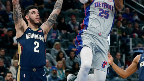 <p>               Detroit Pistons guard Derrick Rose (25) attempts a layup as New Orleans Pelicans guard Lonzo Ball (2) defends during the first half of an NBA basketball game, Monday, Jan. 13, 2020, in Detroit. (AP Photo/Carlos Osorio)             </p>