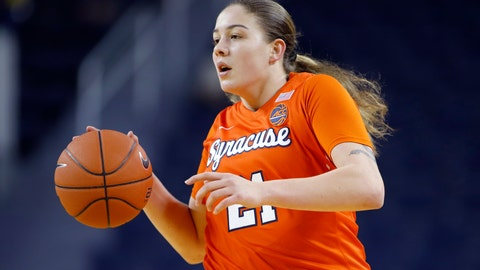 <p>               FILE - In this Dec. 5, 2019, file photo, Syracuse's Emily Engstler plays against Michigan during an NCAA women's college basketball game in Ann Arbor, Mich. Engstler hit the winning layup at the overtime buzzer to upset unbeaten Florida State 90-89, Thursday, Jan. 2, 2020, in Syracuse, N.Y. (AP Photo/Al Goldis, File)             </p>