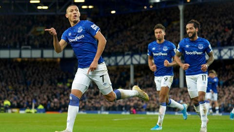 <p>               Everton's Richarlison scores his side's first goal of the game, during the English Premier League soccer match between Everton and Brighton at Goodison Park, in Liverpool, England, Saturday, Jan. 11, 2020. (Ian Hodgson/PA via AP)             </p>