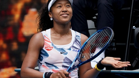 <p>               Japan's Naomi Osaka celebrates after defeating Marie Bouzkova of the Czech Republic in their first round singles match the Australian Open tennis championship in Melbourne, Australia, Monday, Jan. 20, 2020. (AP Photo/Lee Jin-man)             </p>