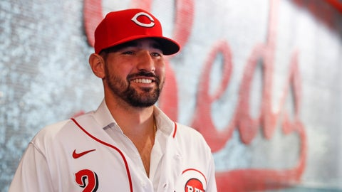 <p>               Cincinnati Reds' Nick Castellanos waits for interviews during a news conference, Tuesday, Jan. 28, 2020, in Cincinnati. Castellanos signed a $64 million, four-year deal with the baseball club. (AP Photo/John Minchillo)             </p>