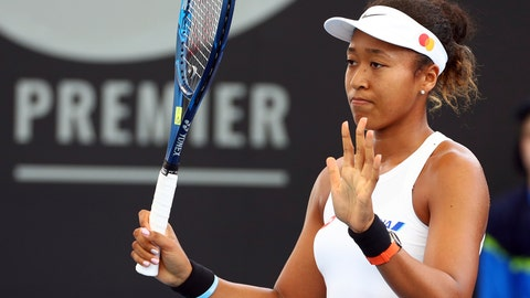 <p>               Naomi Osaka of Japan reacts after missing a point during her match against Maria Sakkari of Greece at the Brisbane International tennis tournament in Brisbane, Australia, Tuesday, Jan. 7, 2020. (AP Photo/Tertius Pickard)             </p>