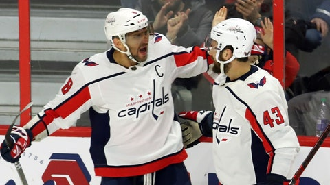 <p>               Washington Capitals left wing Alex Ovechkin (8) celebrates his goal against the Ottawa Senators with right wing Tom Wilson (43) during the second period of an NHL hockey game Friday, Jan. 31, 2020, in Ottawa, Ontario. (Fred Chartrand/The Canadian Press via AP)             </p>