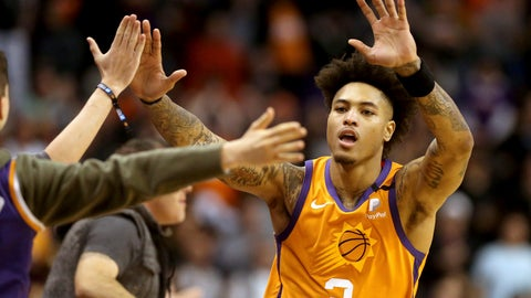 <p>               Phoenix Suns' Kelly Oubre Jr. (3) celebrate with fans after coming back late in an NBA basketball game against the Orlando Magic during the second half Friday, Jan. 10, 2020, in Phoenix. (AP Photo/Darryl Webb)             </p>