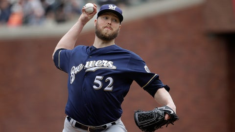 <p>               FILE - In this Saturday, June 15, 2019 file photo, Milwaukee Brewers pitcher Jimmy Nelson (52) throws to a San Francisco Giants batter during the second inning of a baseball game in San Francisco. Right-hander Jimmy Nelson and the Los Angeles Dodgers agreed Tuesday, Jan. 7, 2020 to a $1.25 million, one-year contract, an incentive-laden deal that could be worth $13.25 million over two seasons.(AP Photo/Jeff Chiu, File)             </p>