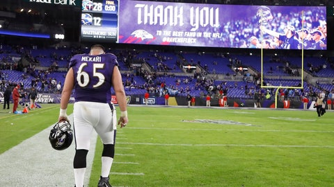 <p>               Baltimore Ravens offensive guard Patrick Mekari (65) leaves the field after an NFL divisional playoff football game against the Tennessee Titans, Saturday, Jan. 11, 2020, in Baltimore. The Titans won 28-12. (AP Photo/Julio Cortez)             </p>
