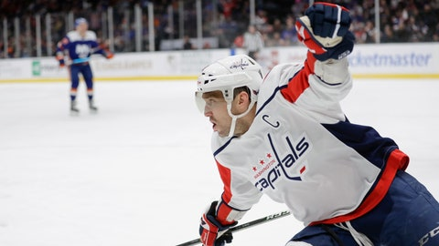 <p>               Washington Capitals' Alex Ovechkin (8) reacts after scoring a goal during the first period of an NHL hockey game against the New York Islanders, Saturday, Jan. 18, 2020, in Uniondale, N.Y. (AP Photo/Frank Franklin II)             </p>