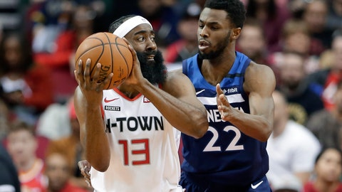 <p>               Houston Rockets guard James Harden (13) looks to pass the ball under pressure from Minnesota Timberwolves forward Andrew Wiggins (22) during the first half of an NBA basketball game Saturday, Jan. 11, 2020, in Houston. (AP Photo/Michael Wyke)             </p>