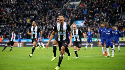 <p>               Newcastle United's Isaac Hayden, centre, celebrates scoring his side's first goal of the game during their English Premier League soccer match against Chelsea at St James' Park, Newcastle, England, Saturday, Jan. 18, 2020. (Owen Humphreys/PA via AP)             </p>
