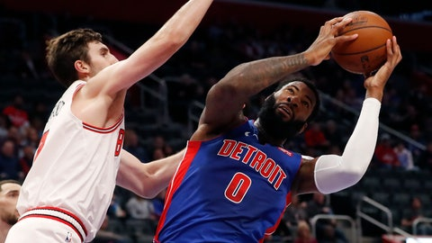 <p>               Chicago Bulls forward Luke Kornet, left, defends as Detroit Pistons center Andre Drummond (0) attempts to shoot during the first half of an NBA basketball game, Saturday, Jan. 11, 2020, in Detroit. (AP Photo/Carlos Osorio)             </p>