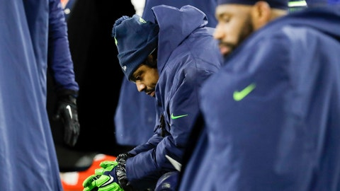 <p>               Seattle Seahawks' Marshawn Lynch sits on the bench during the second half an NFL divisional playoff football game against the Green Bay Packers Sunday, Jan. 12, 2020, in Green Bay, Wis. The Packers won 28-23 to advance to the NFC Championship. (AP Photo/Darron Cummings)             </p>
