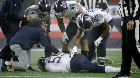 <p>               Tennessee Titans linebacker Jayon Brown receives attention on the field after an injury in the first half of an NFL wild-card playoff football game against the New England Patriots, Saturday, Jan. 4, 2020, in Foxborough, Mass. (AP Photo/Elise Amendola)             </p>