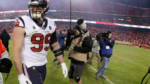 <p>               Houston Texans defensive end J.J. Watt (99) walks off the field after an NFL divisional playoff football game against the Kansas City Chiefs, Sunday, Jan. 12, 2020, in Kansas City, Mo. (AP Photo/Charlie Riedel)             </p>