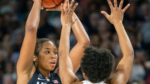 <p>               Connecticut forward Megan Walker (3) holds the ball as Central Florida guard Diamond Battles (3) defends during the first half of an NCAA college basketball game in Orlando, Fla., Thursday, Jan. 16, 2020. (AP Photo/Willie J. Allen Jr.)             </p>