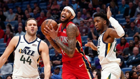 <p>               New Orleans Pelicans forward Brandon Ingram drives to the basket between Utah Jazz forward Bojan Bogdanovic (44) and guard Donovan Mitchell during the first half of an NBA basketball game in New Orleans, Thursday, Jan. 16, 2020. (AP Photo/Gerald Herbert)             </p>