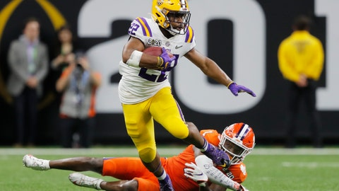 <p>               LSU running back Clyde Edwards-Helaire breaks away from Clemson cornerback Derion Kendrick during the second half of a NCAA College Football Playoff national championship game Monday, Jan. 13, 2020, in New Orleans. (AP Photo/Gerald Herbert)             </p>