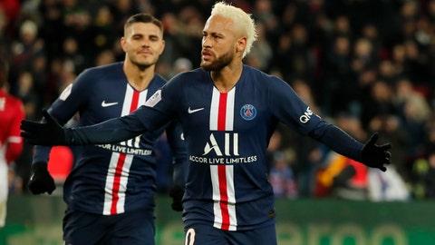 <p>               PSG's Neymar celebrates after scoring his side's third goal during the French League One soccer match between Paris-Saint-Germain and Monaco at the Parc des Princes stadium in Paris, Sunday Jan. 12, 2020. (AP Photo/Francois Mori)             </p>