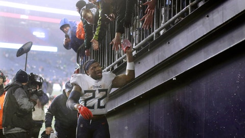 <p>               Tennessee Titans running back Derrick Henry leaves the field after winning an NFL wild-card playoff football game against the New England Patriots, Saturday, Jan. 4, 2020, in Foxborough, Mass. (AP Photo/Steven Senne)             </p>