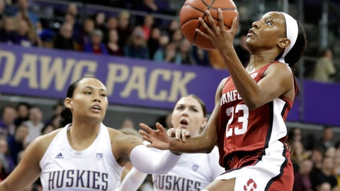 <p>               Stanford guard Kiana Williams, right, shoots past Washington forward Mai-Loni Henson, left, and forward Haley Van Dyke during the first half of an NCAA college basketball game, Friday, Jan. 31, 2020, in Seattle. (AP Photo/Ted S. Warren)             </p>