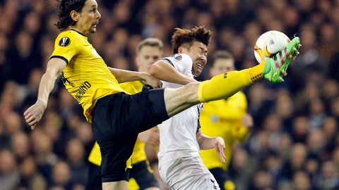 <p>               FILE-In this March 17, 2016 file photo Dortmund's Neven Subotic, left, and Tottenham's Son Heung-Min, right, challenge for the ball during the Europa League round of 16 second leg soccer match between Tottenham Hotspur and Borussia Dortmund in London, Great Britain. Fan favorite Neven Subotic is undergoing a renaissance before he returns to where he enjoyed his greatest successes. The 31-year-old Union Berlin center back scored a rare goal in the side's 2-0 win over Augsburg last weekend, and joked that he may have another goal in him for former side Borussia Dortmund on Saturday. (AP Photo/Frank Augstein)             </p>