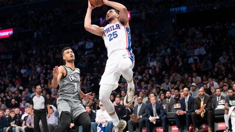 <p>               Philadelphia 76ers guard Ben Simmons (25) goes to the basket past Brooklyn Nets guard Chris Chiozza (9) during the first half of an NBA basketball game, Monday, Jan. 20, 2020, in New York. (AP Photo/Mary Altaffer)             </p>
