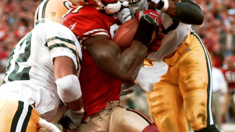 <p>               FILE - In this Jan. 3, 1999, file photo, San Francisco 49ers' wide receiver Terrell Owens pulls in a 25-yard touchdown pass from quarterback Steve Young as Green Bay Packers' safeties Pat Terrell (40) and Darren Sharper defend late in the fourth quarter of an NFC wild card playoff game at 3COM Park in San Francisco. Owens' catch with three seconds left in the game led the 49ers to a 30-27 win. The two teams that have combined for nine Super Bowl titles will meet with a spot in the ultimate game on the line once again when the 49ers (14-3) host the Packers (14-3) in the NFC championship game on Sunday, Jan. 19, 2020. (AP Photo/Susan Ragan, File)             </p>