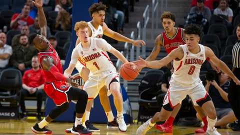 <p>               Arizona guard Josh Green (0) steals the ball from St. John's guard Rasheem Dunn, left, during the second half of an NCAA college basketball game Saturday, Dec. 21, 2019, in San Francisco. St. John's defeated Arizona 70-67. (AP Photo/D. Ross Cameron)             </p>