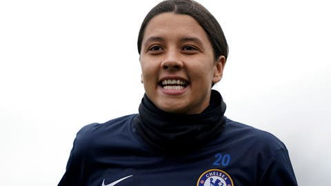 <p>               Chelsea's Samantha Kerr warms up ahead of the FA Women's Super League match against Reading at The Cherry Red Records Stadium, London, Sunday Jan. 5, 2020. (Tess Derry/PA via AP)             </p>