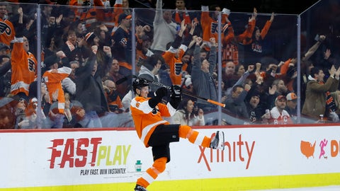 <p>               Philadelphia Flyers' Robert Hagg celebrates after scoring during the first period of the team's NHL hockey game against the Washington Capitals, Wednesday, Jan. 8, 2020, in Philadelphia. (AP Photo/Matt Slocum)             </p>