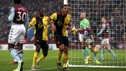 <p>               Watford's Troy Deeney celebrates scoring his side's first goal of the game against Aston Villa, with Abdoulaye Doucoure, left, during their English Premier League soccer match at Villa Park in Birmingham, England, Tuesday Jan. 21, 2020. (David Davies/PA via AP)             </p>