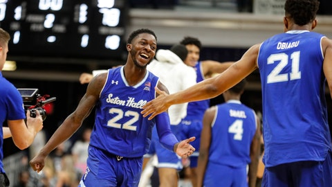 <p>               Seton Hall guard Myles Cale (22) celebrates with center Ike Obiagu (21) following an NCAA college basketball game against Butler in Indianapolis, Wednesday, Jan. 15, 2020. Seton Hall defeated Butler 78-70. (AP Photo/Michael Conroy)             </p>