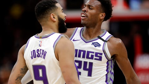 <p>               Sacramento Kings guard Cory Joseph, left, celebrates with guard Buddy Hield after scoring basket during the second half of an NBA basketball game against the Chicago Bulls in Chicago, Friday, Jan. 24, 2020. The Kings won 98-81.(AP Photo/Nam Y. Huh)             </p>