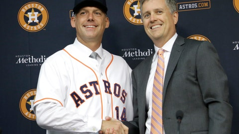 <p>               FILE - In this Sept. 29, 2014, file photo, Houston Astros general manager Jeff Luhnow, right, and A.J. Hinch pose after Hinch is introduced as the new manager of the baseball club in Houston. Hinch and Luhnow were fired Monday, Jan. 13, 2020, after being suspended for their roles in the team's extensive sign-stealing scheme from 2017.  (AP Photo/Pat Sullivan, File)             </p>