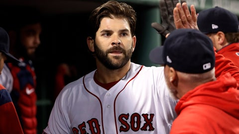 <p>               FILE - In this Thursday, April 11, 2019 file photo, Boston Red Sox's Mitch Moreland is greeted in the dugout after his home run against the Toronto Blue Jays during the seventh inning of a baseball game at Fenway Park in Boston. First baseman Mitch Moreland is staying with the Boston Red Sox, agreeing Tuesday, Jan. 28, 2020 to a one-year contract that guarantees $3 million. Moreland gets a $2.5 million salary this year, and Boston has a $3 million team option for 2021 with a $500,000 buyout.(AP Photo/Winslow Townson, File)             </p>