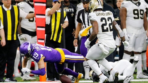 <p>               Minnesota Vikings wide receiver Adam Thielen (19) fumble on a pass reception which was recovered by the New Orleans Saints in the first half of an NFL wild-card playoff football game, Sunday, Jan. 5, 2020, in New Orleans. (AP Photo/Brett Duke)             </p>