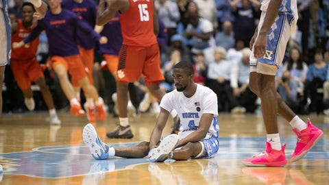<p>               North Carolina's Brandon Robinson (4) reacts after missing a three-point shot at the buzzer in an NCAA college basketball game against Clemson on Saturday, Jan. 11, 2020, at the Smith Center in Chapel Hill, N.C. (Robert Willett/The News & Observer via AP)             </p>