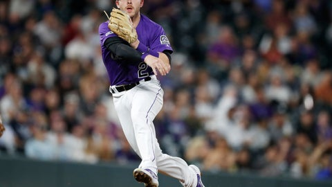 <p>               FILE - In this Sept. 17, 2019, file photo, Colorado Rockies shortstop Trevor Story throws to first base to put out New York Mets' Marcus Stroman during the sixth inning of a baseball game in Denver.  Story asked for $11.5 million and the Rockies offered him $10.75 million when players and teams exchanged proposed salaries in salary arbitration Friday, Jan. 10. Colorado catcher Tony Wolters also could be headed toward a hearing next month after requesting a raise from $960,000 to $2,475,000. The Rockies offered $1.9 million. (AP Photo/David Zalubowski, File)             </p>
