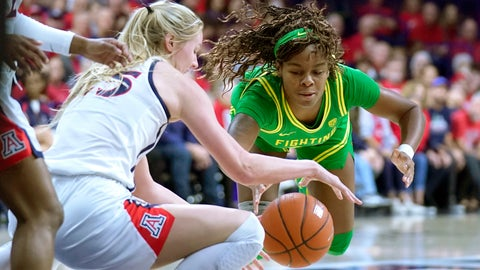 <p>               Oregon forward Ruthy Hebard, right, and Arizona forward Cate Reese (25) battle for the ball during the first half of an NCAA college basketball game Sunday, Jan. 12, 2020, in Tucson, Ariz. (AP Photo/Rick Scuteri)             </p>