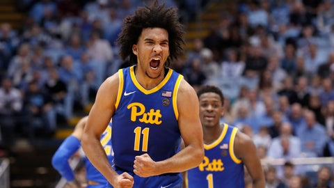 <p>               Pittsburgh guard Justin Champagnie (11) reacts following a basket against North Carolina during the second half of an NCAA college basketball game in Chapel Hill, N.C., Wednesday, Jan. 8, 2020. (AP Photo/Gerry Broome)             </p>