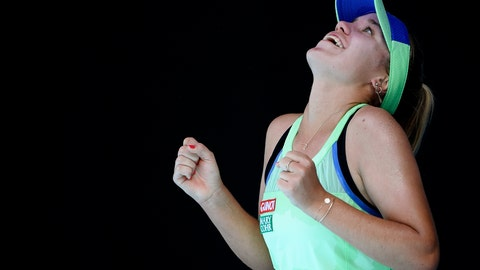 <p>               Sofia Kenin of the U.S. reacts after defeating Australia's Ashleigh Barty during their semifinal match at the Australian Open tennis championship in Melbourne, Australia, Thursday, Jan. 30, 2020. (AP Photo/Andy Brownbill)             </p>