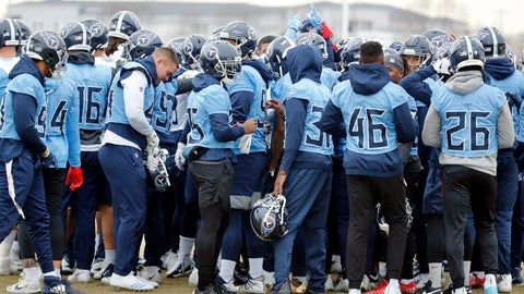 <p>               Tennessee Titans players gather during an NFL football practice Friday, Jan. 17, 2020, in Nashville, Tenn. The Titans are scheduled to face the Kansas City Chiefs in the AFC Championship game Sunday. (AP Photo/Mark Humphrey)             </p>